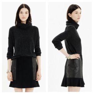 Madewell Leather Panel Boulevard Skirt Black Wool